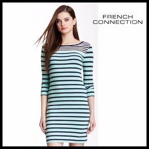 FRENCH CONNECTION 3/4 SLEEVES STRIPED KNIT DRESS